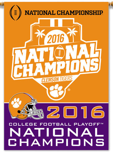 "Clemson Tigers 2016 NCAA Football National Champions Official 2-Sided 28""x40"" Banner"