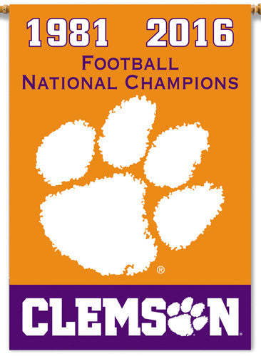 "Clemson Tigers 2-Time NCAA Football National Champions Official 2-Sided 28""x40"" Banner"