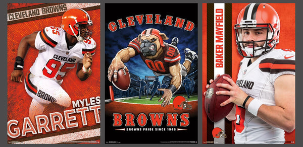 COMBO: Cleveland Browns Superstar Action 3-Poster Combo Set (Baker Mayfield, Myles Garrett, Theme Art Posters)