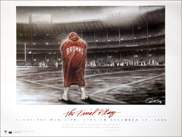 "Cleveland Browns ""The Final Play"" (Municipal Stadium 12/17/1995) Commemorative Poster by Raymond A. Simon - Maverick Arts"