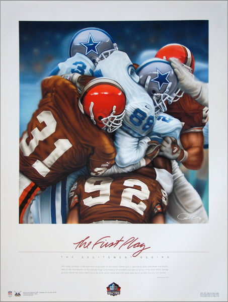 "Cleveland Browns ""The First Play"" (1999) Commemorative Poster by Raymond A. Simon - Maverick Arts"
