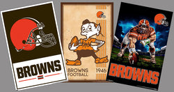 COMBO: Cleveland Browns NFL Football Team Logo Theme Art 3-Poster Combo Set
