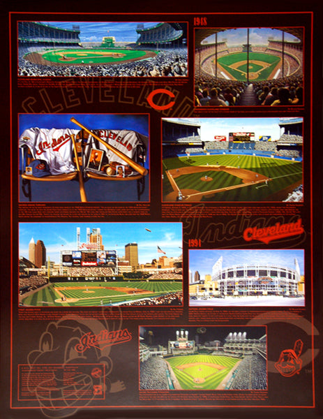 Cleveland Indians Historic Art Collage (1948-1995) Wall Poster - Bill Goff Inc.