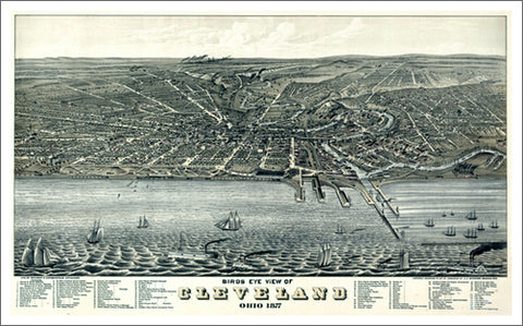 Cleveland, Ohio 1877 Classic Aerial Map Panoramic Poster Reprint (Shober and Carqueville)