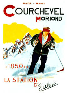 """Courchevel-Moriond"" Skiing - Clouet Vintage Reprints"