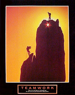 "Rock Climbing Sunset ""Teamwork"" Motivational Poster - Front Line"