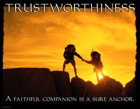 "Rock Climbing ""Trustworthiness"" (Teamwork) Motivational Inspirational Poster - Jaguar Inc."