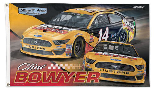 Clint Bowyer NASCAR #14 Rush Truck Centers Ford Fusion Huge 3' x 5' Banner Flag - Wincraft 2019