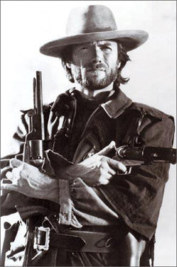 "Clint Eastwood ""Gunslinger"" Classic Black-and-White Poster - Wizard & Genius"