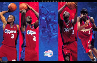"L.A. Clippers ""New Beginning"" Poster (Richardson, Miles, Odom, Dooling) - Costacos 2001"
