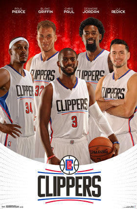 "LA Clippers ""Super Five"" 2015-16 Poster (Griffin, Paul, Jordan, Redick, Pierce) - Trends"