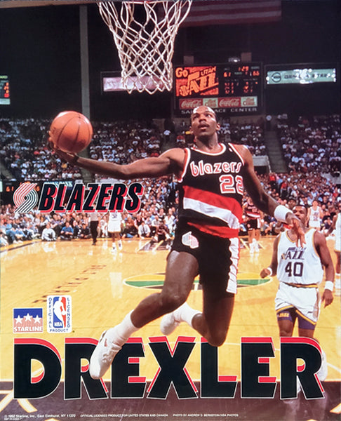 "Clyde Drexler ""Drive"" Portland Trailblazers 16x20 NBA Action Poster - Starline 1992"
