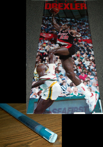"Clyde Drexler ""Glide Classic"" HUGE Door-Sized Portland Trail Blazers NBA Action Poster - Costacos Brothers 1990"