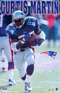 "Curtis Martin ""Patriot"" Vintage NFL Action Poster - Starline 1996"