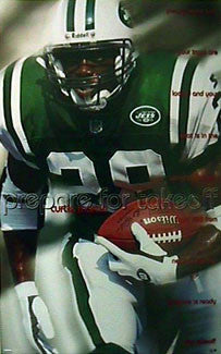 "Curtis Martin ""Prepare For Takeoff"" New York Jets NFL Action Poster - Costacos 1998"
