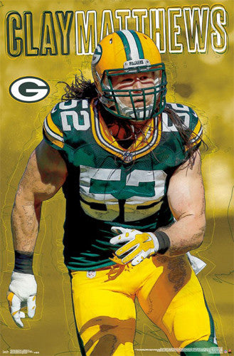 "Clay Matthews ""Intensity"" Green Bay Packers Official NFL Football Wall Poster - Trends International"