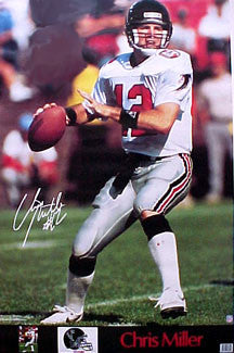 "Chris Miller ""Action"" Atlanta Falcons Poster - Marketcom 1991"