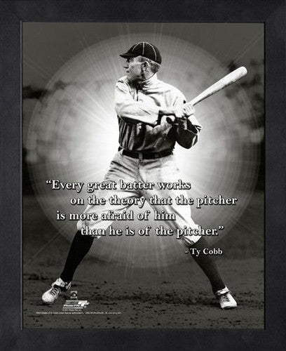 "Ty Cobb ""No Fear"" Detroit Tigers Classic FRAMED 16x20 PRO QUOTES PRINT - Photofile"