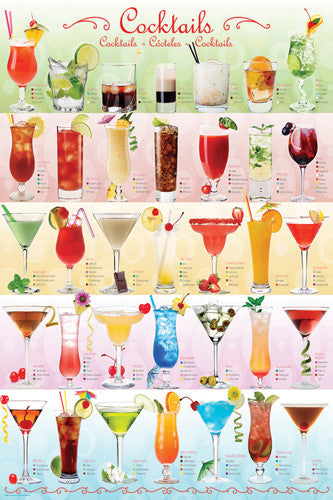 The Cocktails Poster (35 Classic Mixed Drinks) - Eurographics Inc.