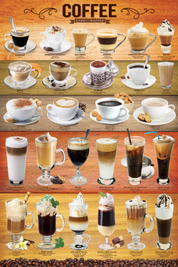 The Coffee Poster (27 Classic Coffee Shop Drinks) - Eurographics Inc.