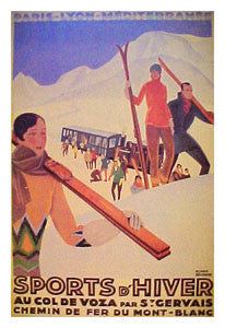 """Col de Voza"" Skiing - Clouet Vintage Reprints"