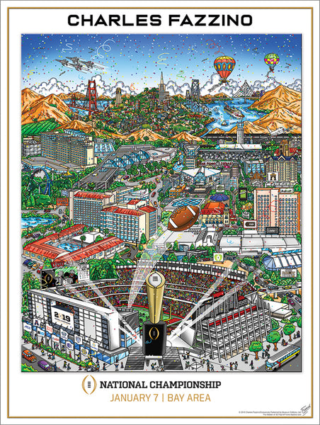College Football National Championship Game 2019 (SF Bay Area) Official Pop Art Event Poster by Fazzino