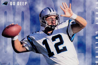 "Kerry Collins ""Go Deep"" Carolina Panthers QB NFL Action Poster - Costacos Brothers 1996"