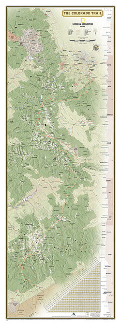 The Colorado Trail National Geographic 18x48 Hiking Wall Map Poster - NG Maps