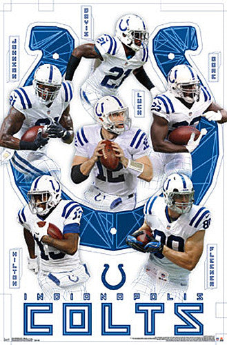 "Indianapolis Colts ""Six-Pack"" NFL Action Poster - Luck, Hilton, Fleener, Johnson, Davis, Gore"
