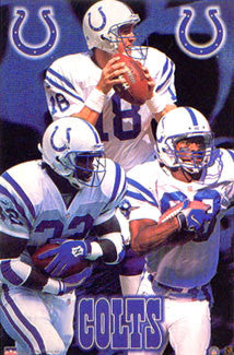 "Indianapolis Colts ""Three Stars"" Poster (James, Manning, Harrison) - Starline 1999"
