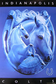 "Indianapolis Colts ""Lucky Horseshoe"" Official NFL Pro Player Theme Art Poster - Costacos 1997"