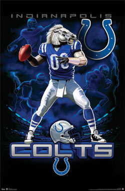 "Indianapolis Colts ""On Fire"" NFL Theme Art Poster - Costacos Sports"