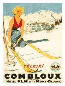 "Classic Skiing ""Combloux Spring Belle"" c.1930 Vintage Poster Reprint - Editions Clouets"