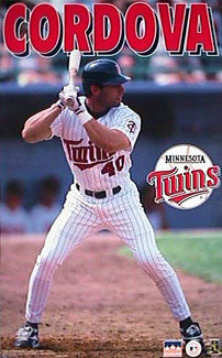 "Marty Cordova ""Action"" Minnesota Twins MLB Baseball Action Poster - Starline 1997"