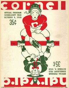 Cornell vs. Harvard Football 1948 Vintage Program Cover Poster Reprint