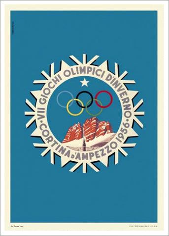 Cortina 1956 Winter Olympic Games Official Poster Reprint - Olympic Museum