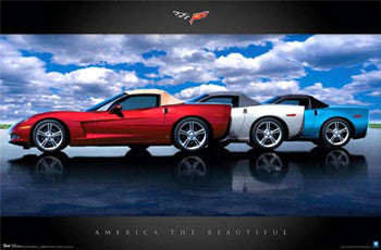 Chevrolet Corvette 1958 At California Diner Autophile Cool Car Wall POSTER