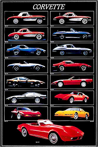 History of the Corvette Poster (1957-1994) - Eurographics Inc.