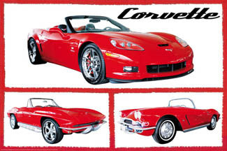 Three Red Corvettes American Sports Car Autophile Poster - Wizard & Genius 2008