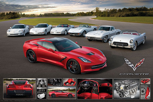"Corvette Stingray 2014 ""It Runs in the Family"" Autophile Profile Sports Car Poster - Eurographics"