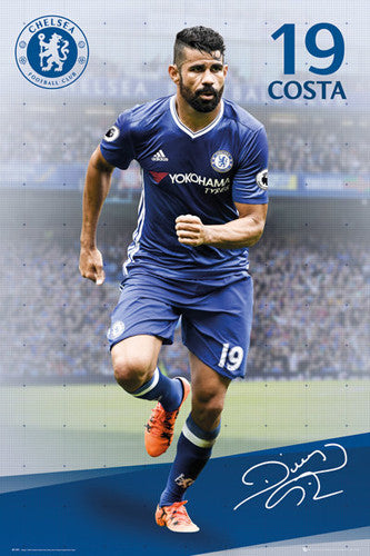 "Diego Costa ""Signature Series"" Chelsea FC Official EPL Soccer Football Poster - GB Eye 2016/17"