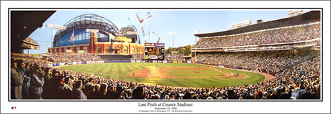 "Milwaukee Brewers ""Last Pitch at County Stadium"" (2000) Panoramic Poster Print - Everlasting Images"