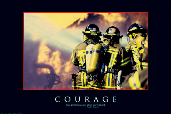 "Motivational Firefighting ""Courage"" Poster - Eurographics 24x36"