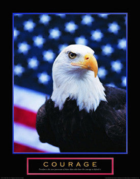 "Bald Eagle ""Courage"" Motivational Poster - Front Line"