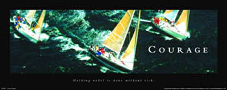 "Sailing ""Courage"" Motivational Poster - Front Line (12x36)"