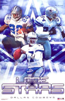 "Dallas Cowboys ""Lone Stars"" (Quincy Carter, Galloway, Emmitt Smith) Poster - Starline 2002"