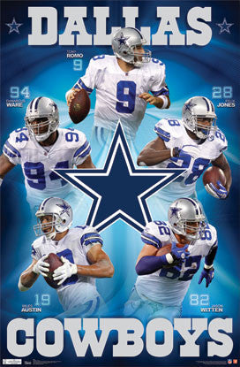 "Dallas Cowboys ""Super Five"" NFL Action Poster - Costacos Sports"