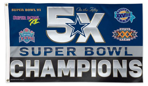 Dallas Cowboys 5-Time Super Bowl Champions Giant Historical Deluxe 3'x5' FLAG - Wincraft