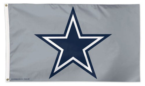 Dallas Cowboys Star-On-Gray-Style Official NFL Football DELUXE 3'x5' Team Flag - Wincraft Inc.
