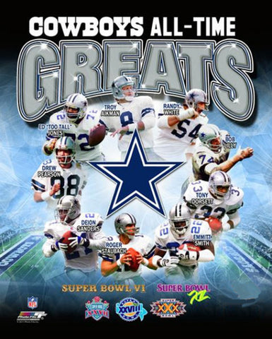 Dallas Cowboys All-Time Greats (9 Legends) Premium Poster Print - Photofile Inc.